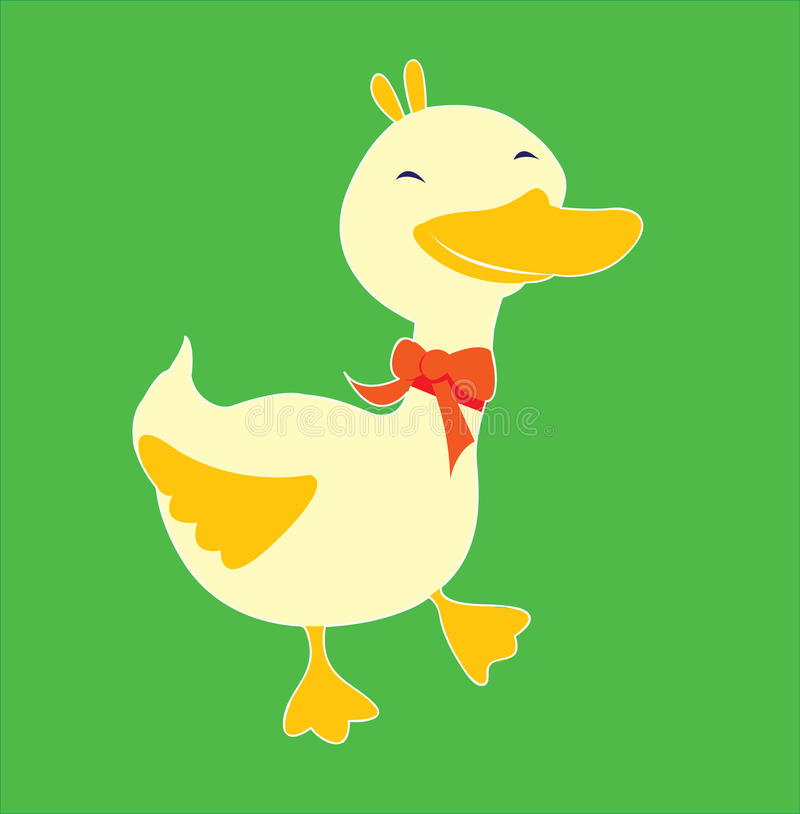 Little Duck with red bow royalty free stock image