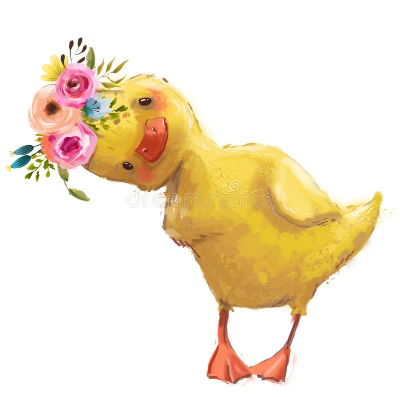 Free Little Duckling With A Floral Wreath Stock Photos - 129110663