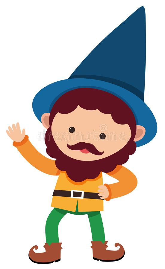 Little dwarf with blue hat stock illustration