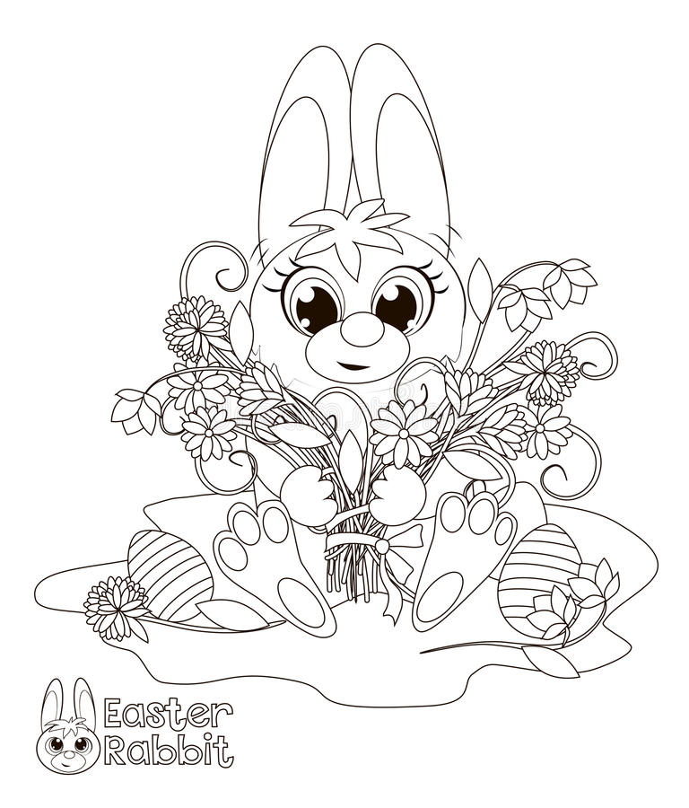 Little Easter Bunny. Coloring book royalty free illustration