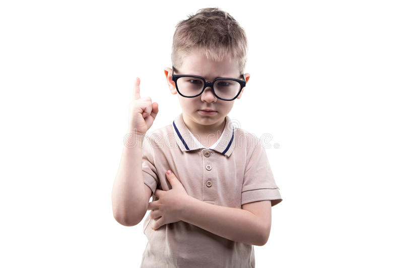 Little educated boy with idea. On white background royalty free stock image