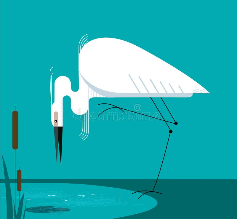 Little Egret stands on one leg. On the shore of the lake, minimalist image royalty free illustration