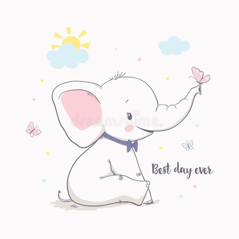 Little elephant with butterfly. Vector illustration for kids. Cartoon vector illustration for kids. Use for print design, surface design, fashion kids wear stock illustration