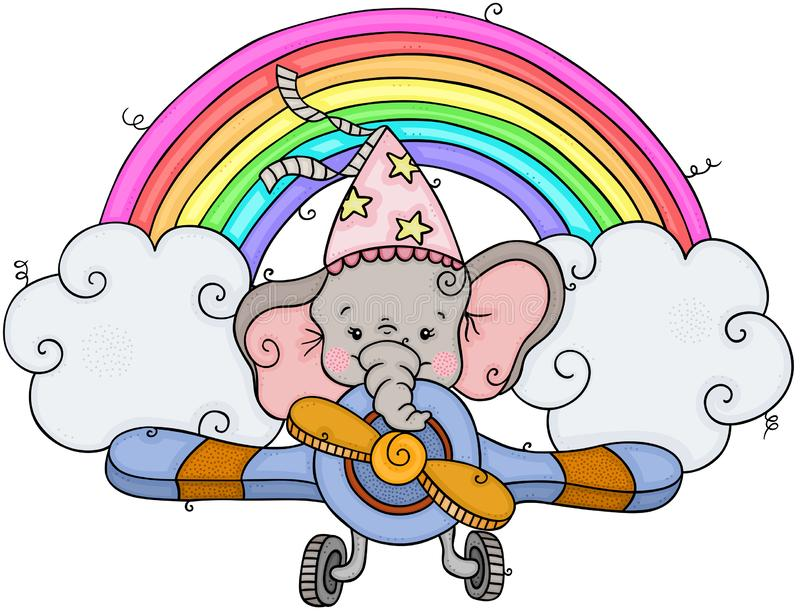 Little elephant flying on airplane with rainbow and clouds vector illustration