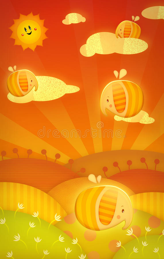 Download Little Elephants stock illustration. Image of small, child - 10984317