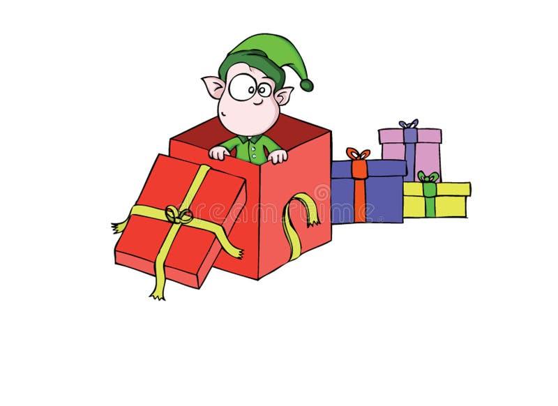 Little elf - present royalty free stock image