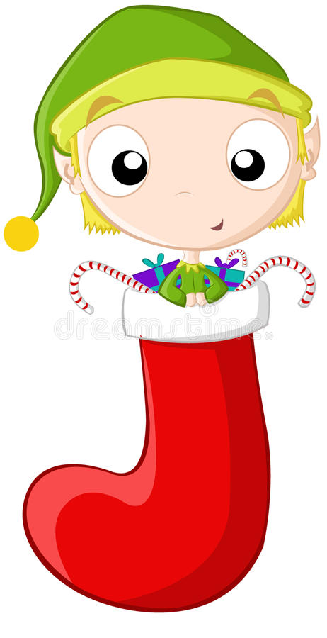 Little elf stocking stock images