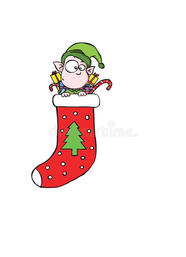 Little elf - stocking royalty free stock images