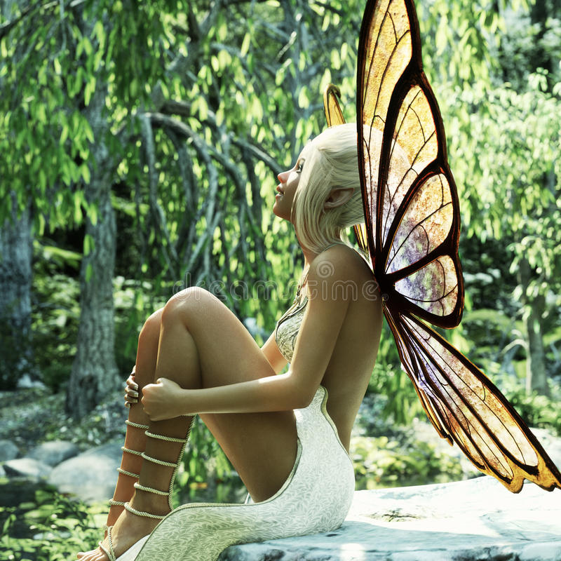 A little elven fairy sitting on a stump enjoying the early morning suns rays. 3d rendering vector illustration