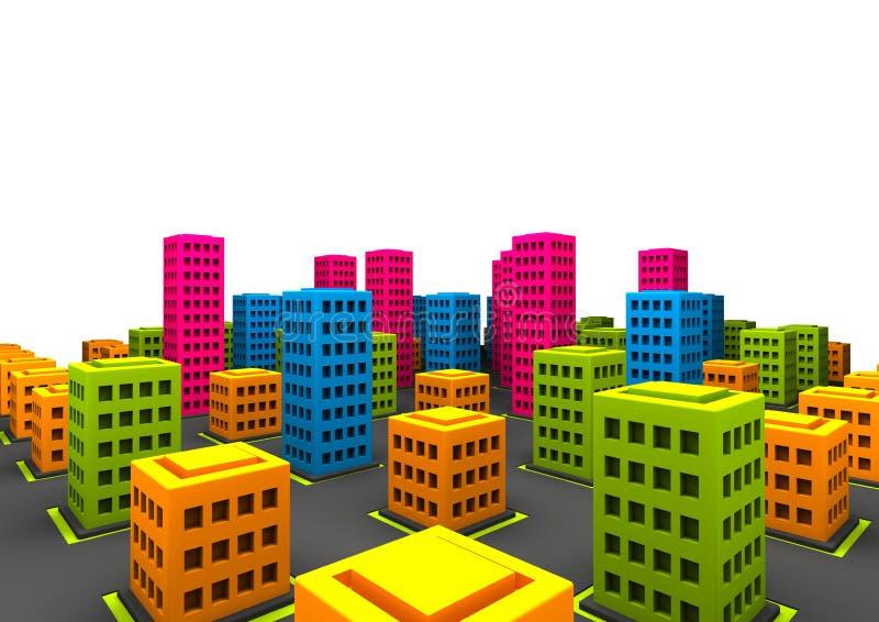 little enfaldig town vektor illustrationer