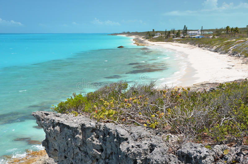 Little Exuma, Bahamas. Coast line of Little Exuma, Bahamas royalty free stock photography