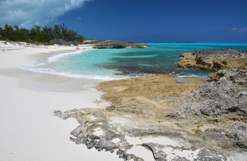 Little Exuma, Bahamas. Desert beach of Little Exuma, Bahamas stock photography
