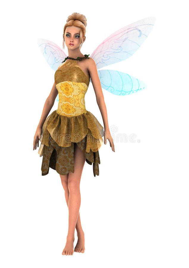 Little Fae. 3D digital render of a beautiful fantasy fae isolated on white background stock illustration