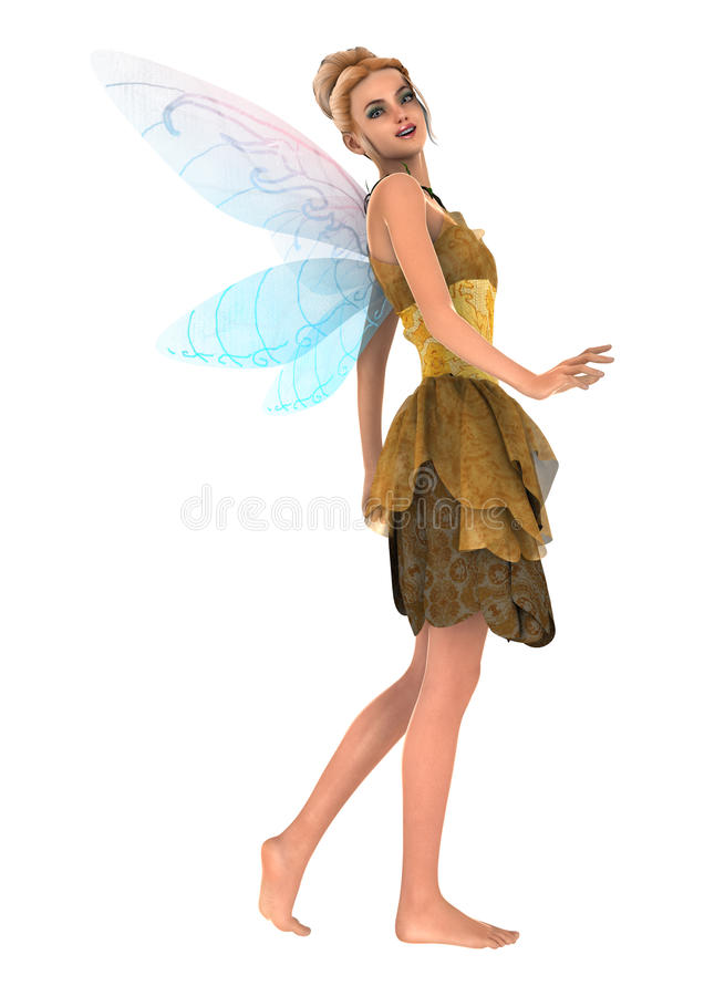 Little Fae. 3D digital render of a beautiful fantasy fae isolated on white background royalty free illustration