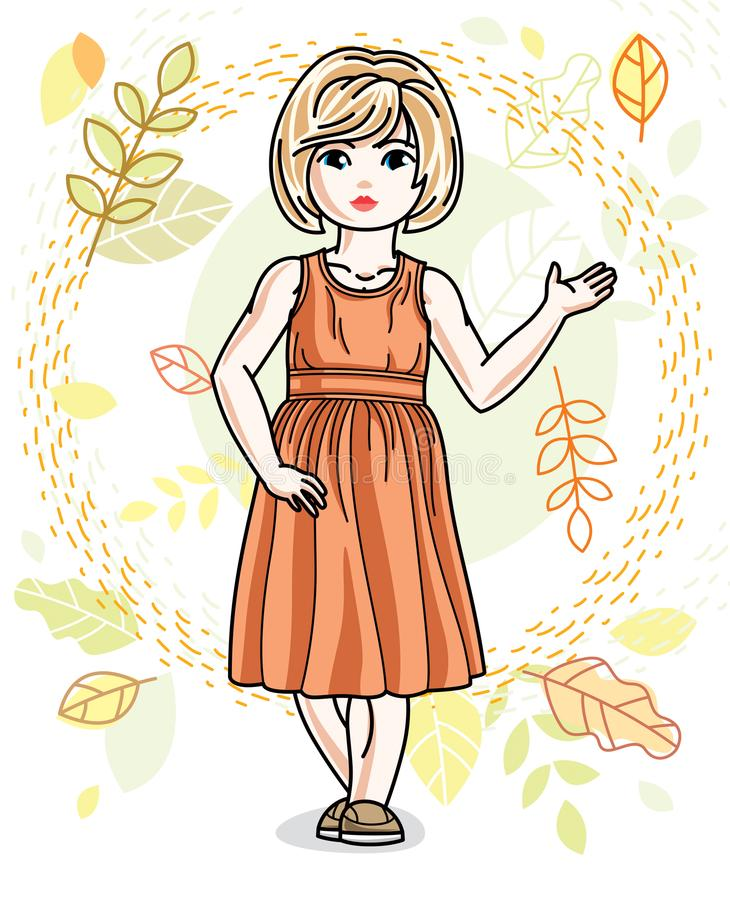 Little fair-haired girl toddler standing on background of autumn. Landscape and wearing fashionable casual clothes. Vector attractive kid illustration. Fashion royalty free illustration