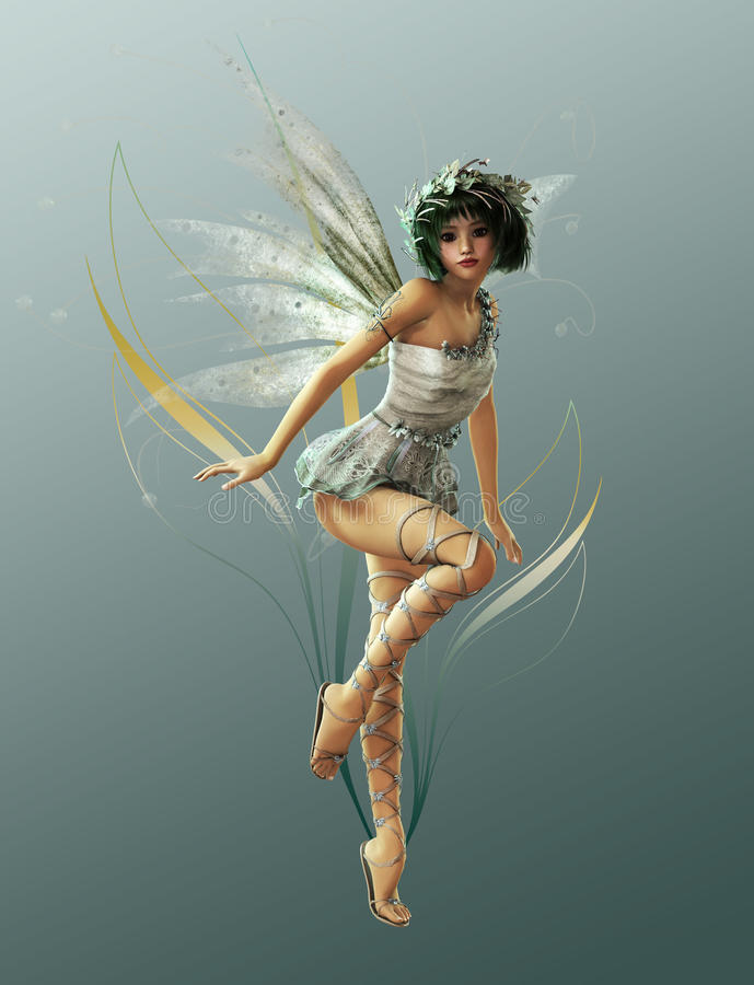 Little Fairy 1. A charming fairy with wreath and wings