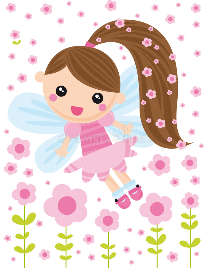 Little fairy. Illustration of little fairy with pink flowers