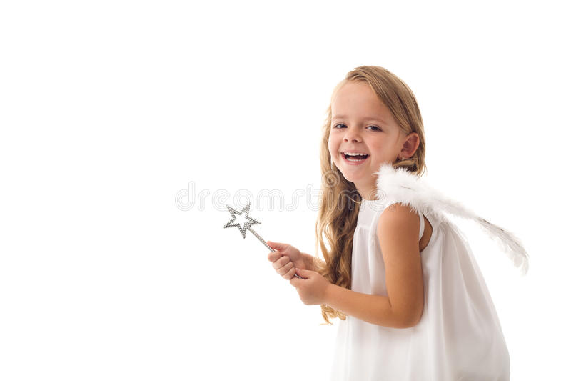 Little fairy angel with magic wand royalty free stock image