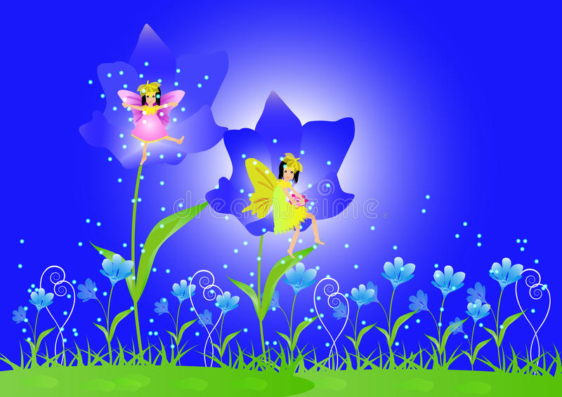 Little fairy and beautiful flowers stock illustration