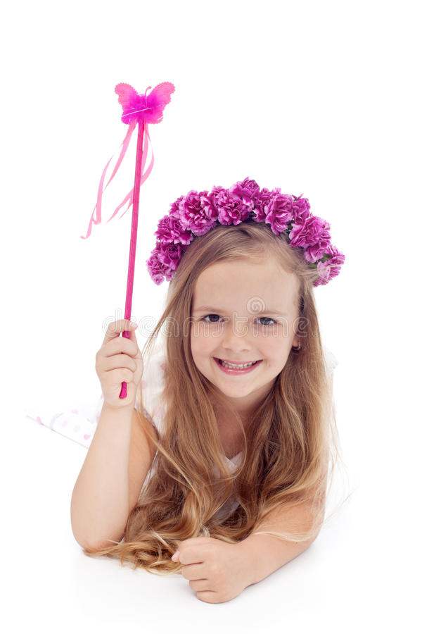 Little Fairy With Flower Wreath And Magic Wand Stock Image