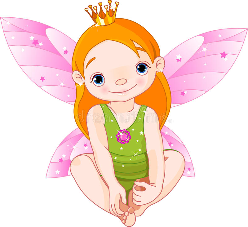 Little Fairy Princess. Cute sitting little fairy Princess with crown stock illustration