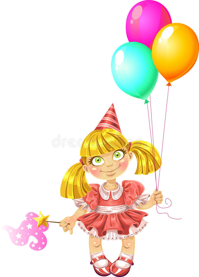 Little fairy in red dress with baloons royalty free stock image