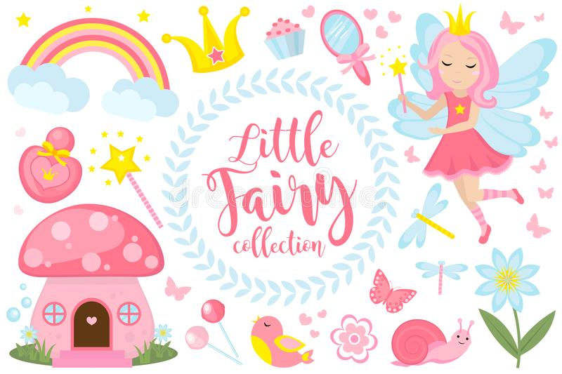 Little fairy set, cartoon style. Cute and mystical collection for girls with fairytale forest princess, magic wand royalty free illustration