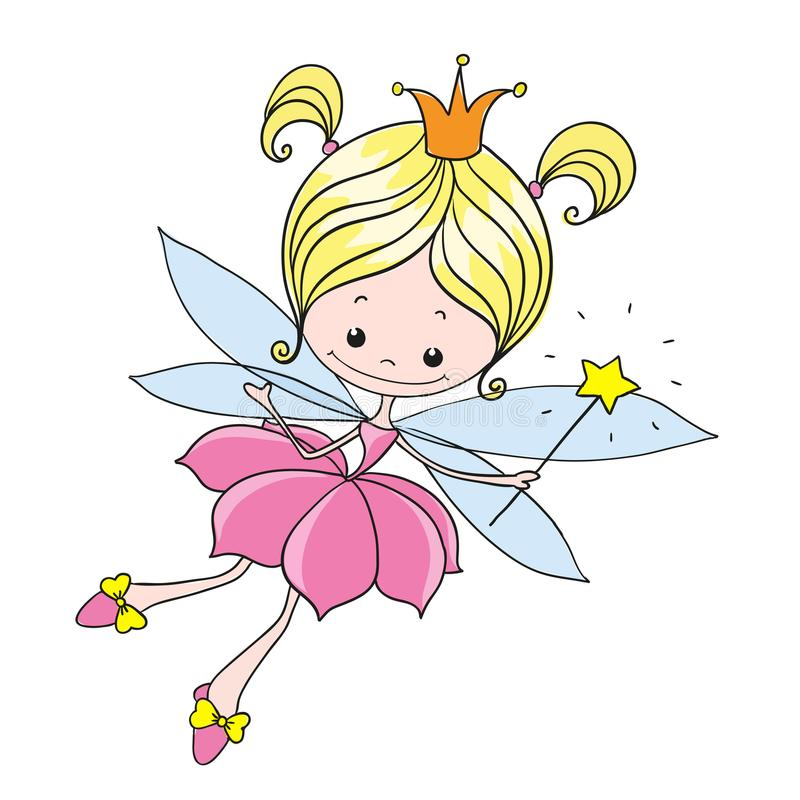 Little fairy. Sweet lady fairy tale. Vector character on a white background. royalty free illustration