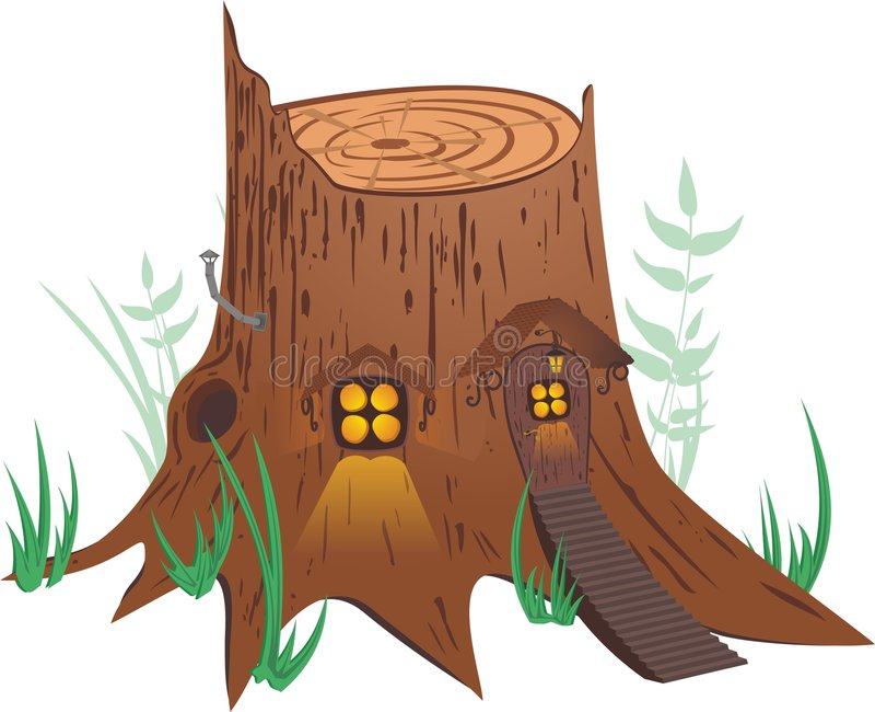 Little Fairy-tale House. On white background stock illustration