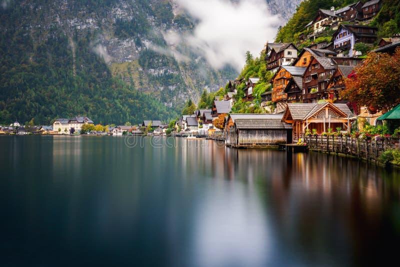 Little famous village Hallstatt in Austria stock photos