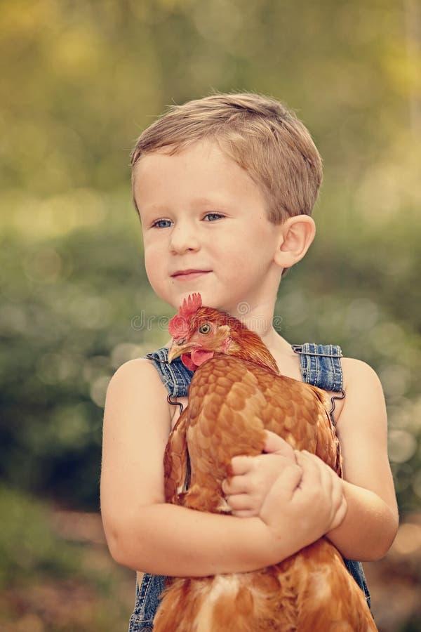 Little farm boy holding red chicken. Boy eating sandwich fishing bridge royalty free stock image