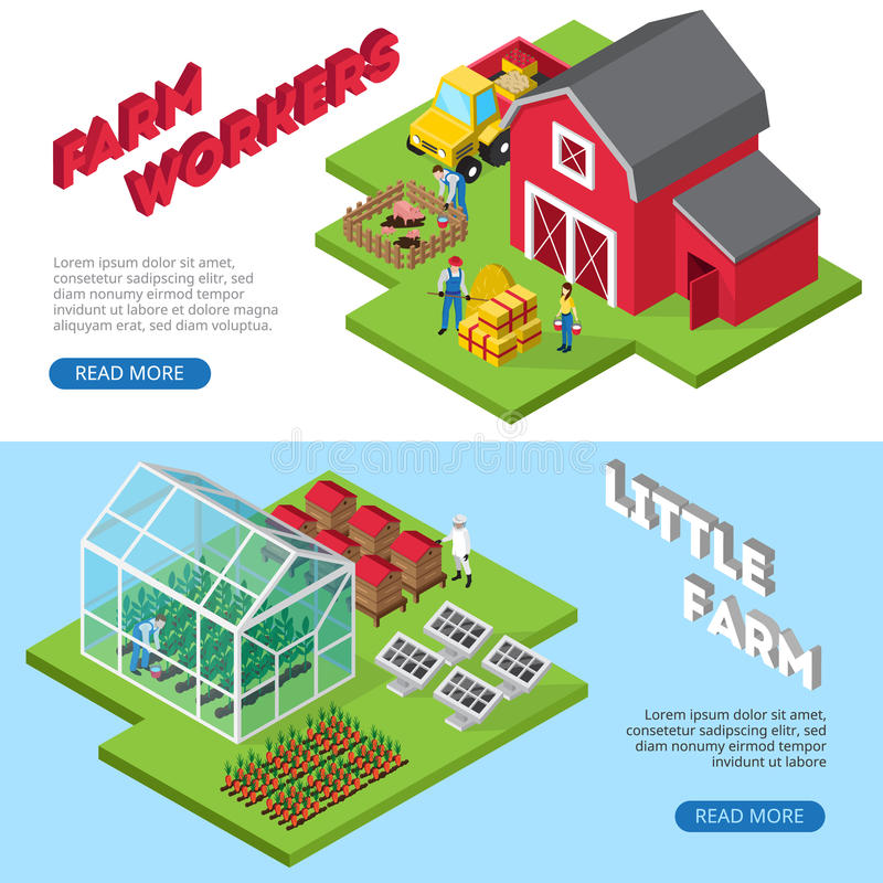 Little Farm Work Facilities Isometric Banners vector illustration