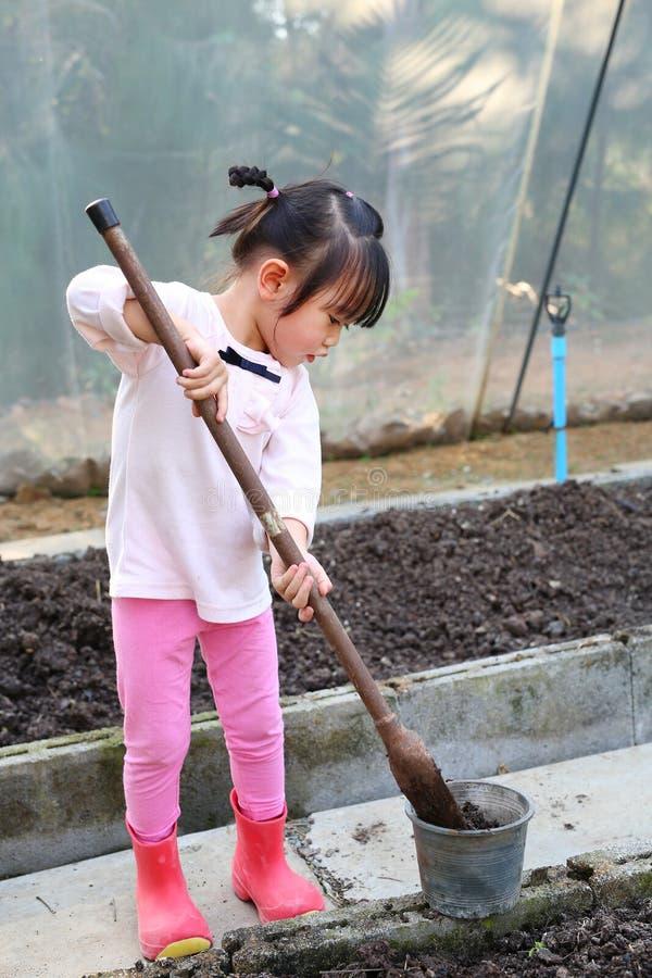 Little farmer girl in gardening stock images