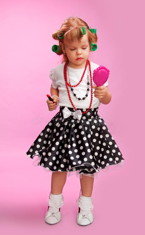 Download Little Fashion-conscious Girl, Just Like Mother Stock Photo - Image of funny, female: 24893262