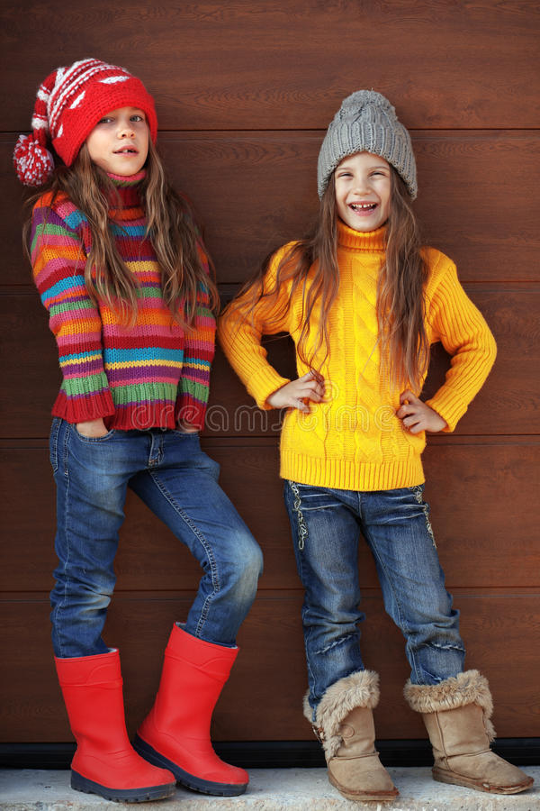 Little fashion girls royalty free stock image