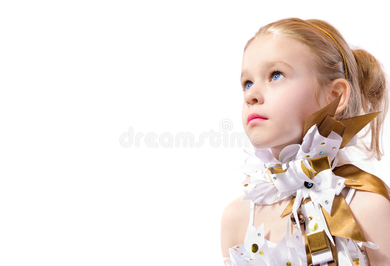 Little fashion model. On white background royalty free stock photos