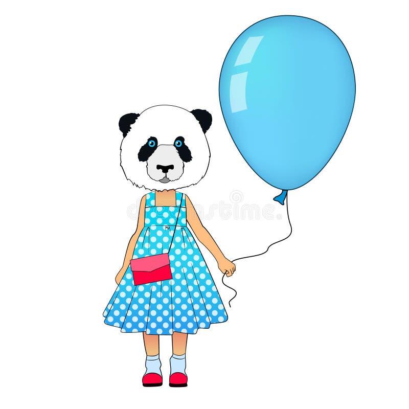 Little fashion panda girl dressed up in dress. Animal hipster bear in dress with balloon. Panda kid dressed in urban stock illustration