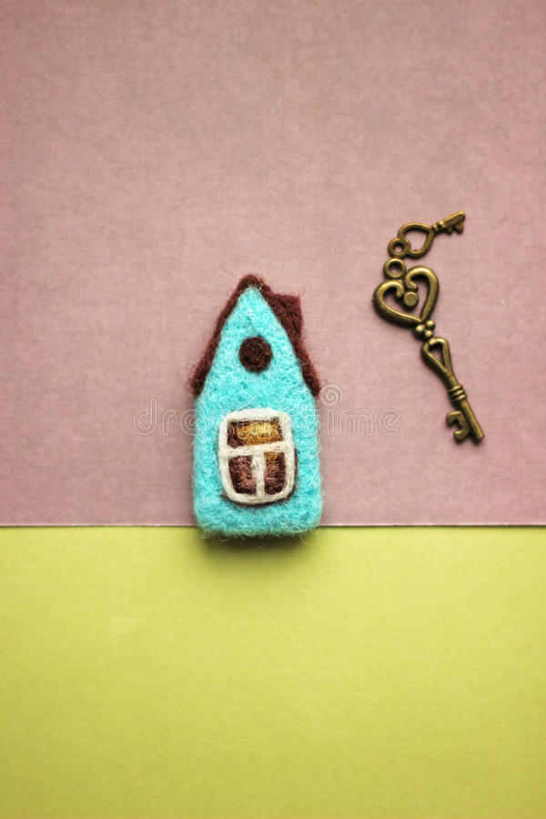 Little felted house, keys royalty free stock images