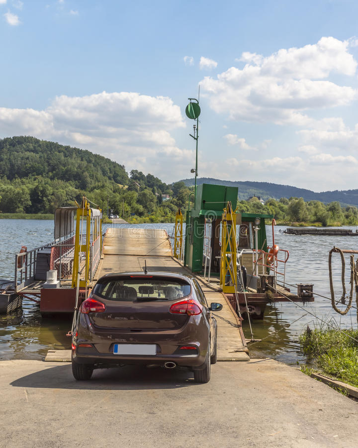 Little ferry. In Czchow Poland, Malpolska . Crossing the river Dunajec in Poland royalty free stock photography
