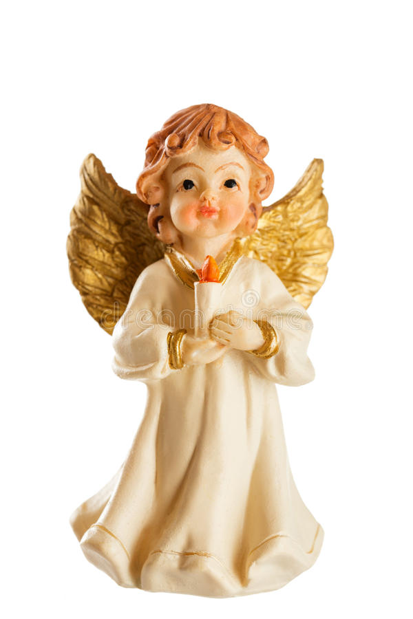 Little figure of a Christmas angel isolated on white background stock photos