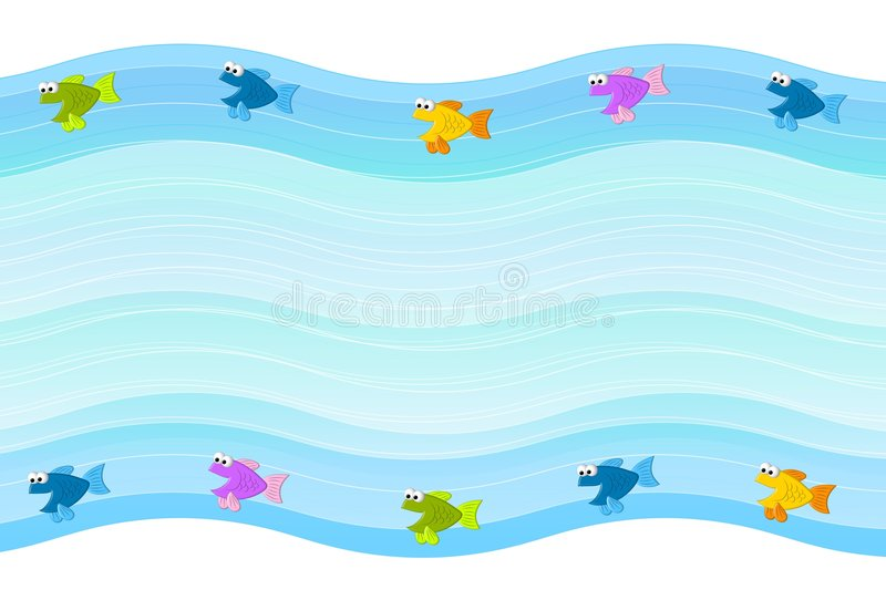 Little Fish Border Background. A background border feauring blue waves and little fish swimming royalty free illustration