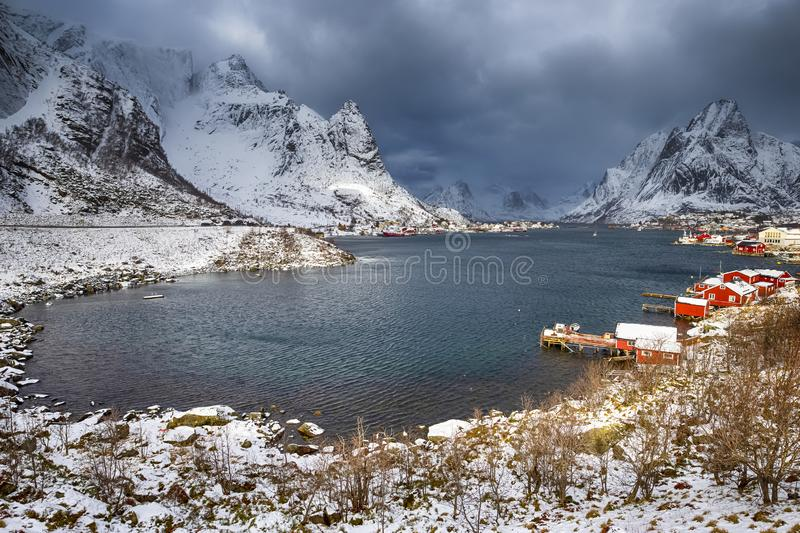 Little Fishing Village Hamnoy and Sakrisoy on Lofotens. Little Fishing Village Hamnoy and Sakrisoy on Lofoten in Norway During Sunrise in Early Spring Time stock photo