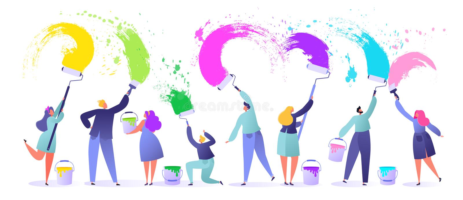 Little, flat, people characters paints with brushes and paint rollers big white wall, They use bright colors, make bold expressive. Brushstrokes. Flat, cartoon stock illustration