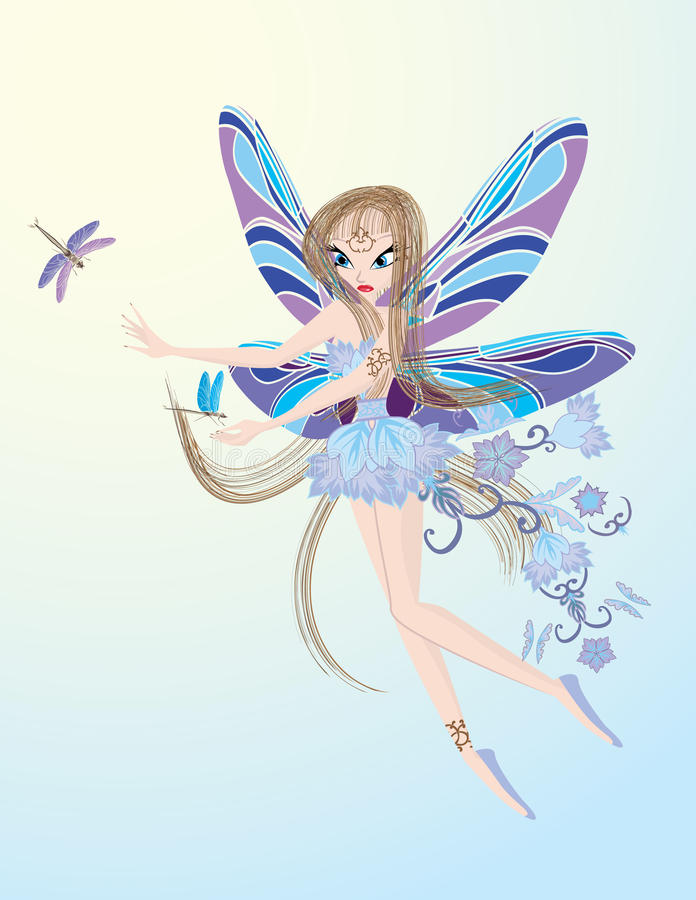 Download Little Flying Fairy Playing With Dragonfly Stock Vector - Illustration: 14466356