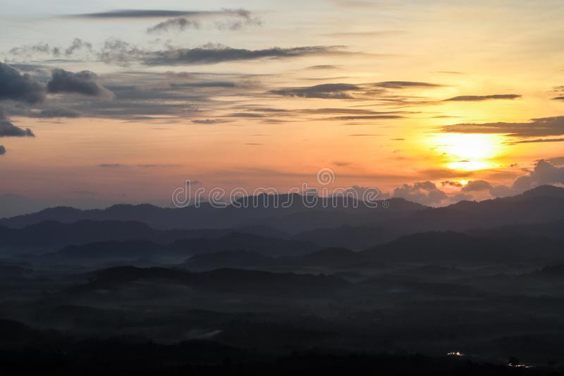 A little fog on the mountain.morning It name ``Khao Khai Noy`` royalty free stock photography