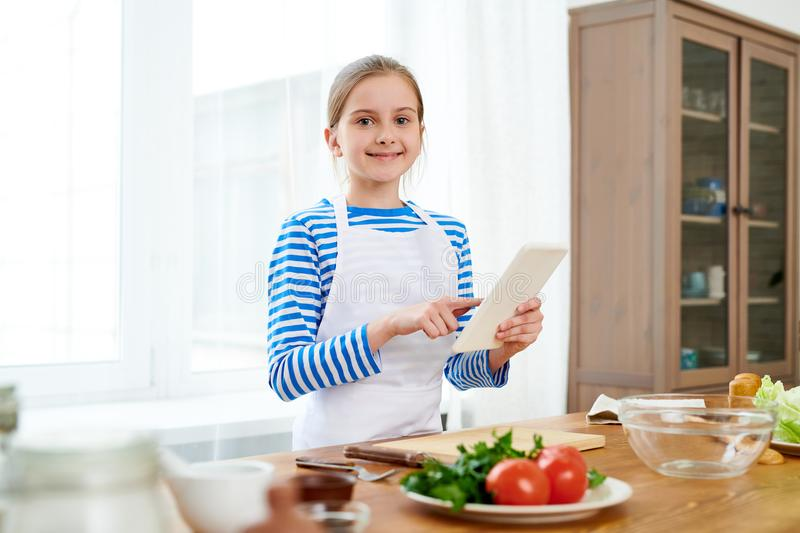 Portrait of Little Food Blogger royalty free stock photo