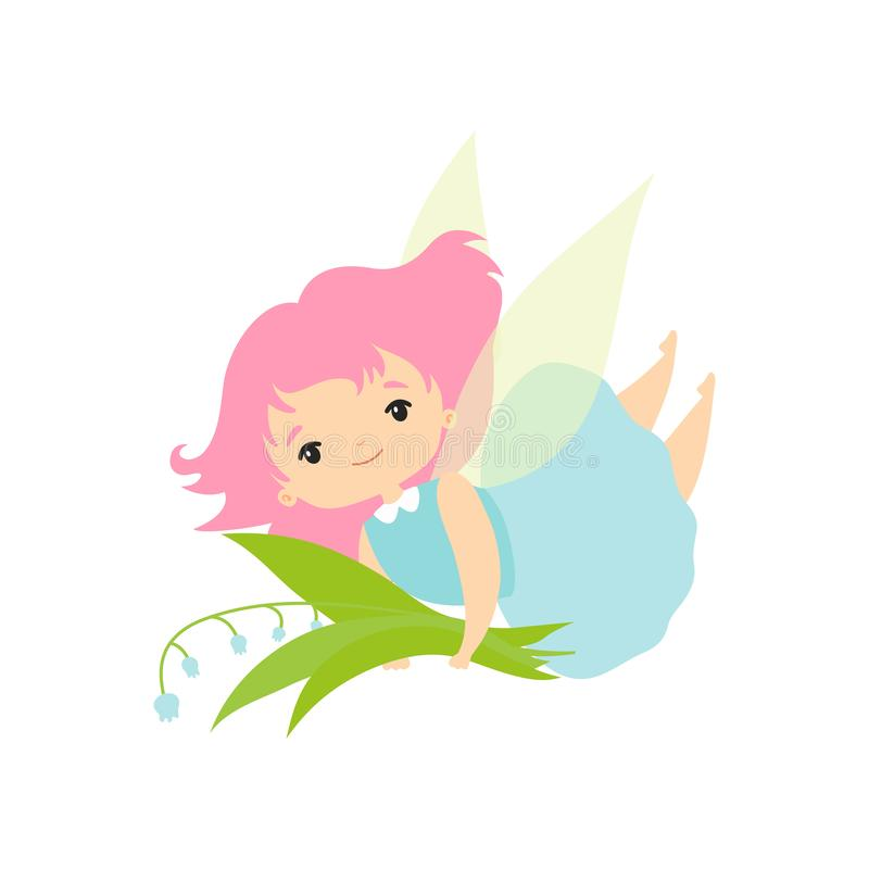 Little Forest Fairy with Bouquet of Lily of Valley, Lovely Fairy Girl Cartoon Character with Green Hair and Wings Vector. Illustration on White Background vector illustration