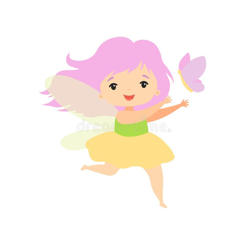 Little Forest Fairy Flying with Butterfly, Lovely Fairy Girl Cartoon Character Vector Illustration stock illustration