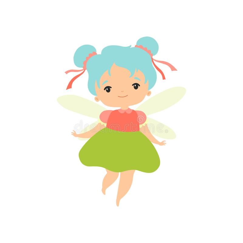Little Forest Fairy, Lovely Fairy Girl Cartoon Character with Light Blue Hair and Wings Vector Illustration. On White Background stock illustration