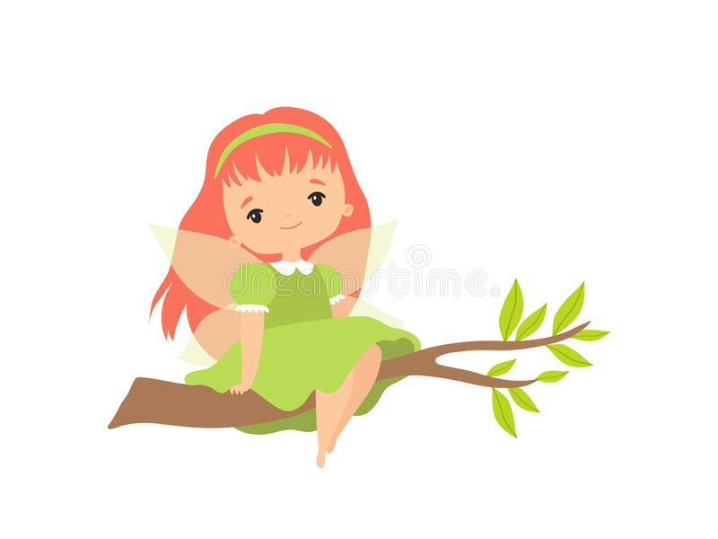 Little Forest Fairy Sitting on Tree Branch, Lovely Fairy Girl Cartoon Character with Red Hair and Wings Vector royalty free illustration